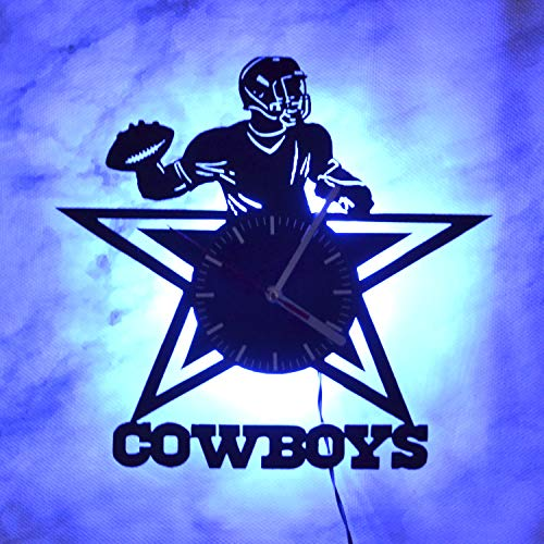 Dallas Cowboys Logo Night Light Wall Lights Vinyl Record Wall Clock Liveng Room Decoration Idea Wall Art Light Modern Vintage Light Unique Wall Clock Perfect Gift Idea for Him Sport Lovers Birthday