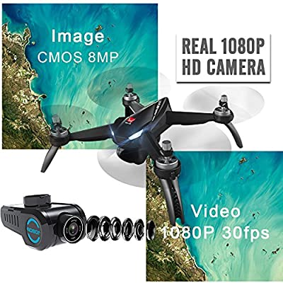 XFUNY MJX B5W Bugs 5 W RC Quadcopter 1080P 5G WiFi Camera Live Video 2.4GHz Remote Control Aircraft 6-Axis Gyro FPV Drone with GPS Return Home, Altitude Hold, Follow Me, 2 Battery
