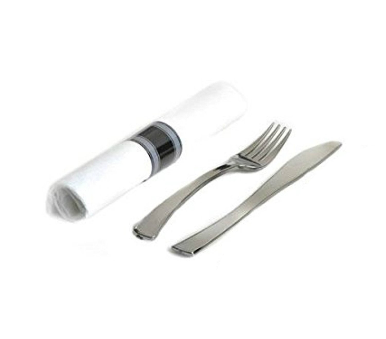 EMI Yoshi EMI-GWFKN Glimmerware Salad Fork-Dinner Knife Rolled Cutlery Kit - Pack of 100 - Silver