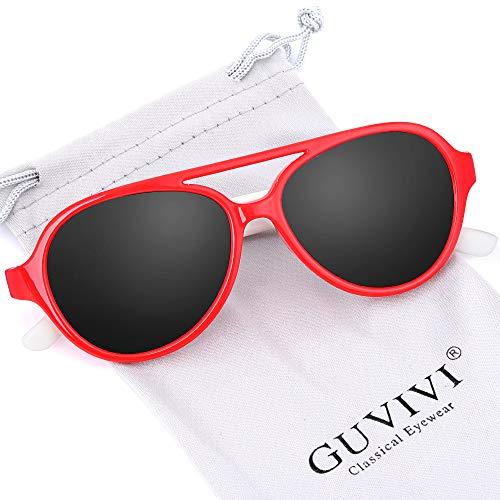 GUVIVI TPEE Polarized Rubber Flexible Toddler Kids Aviator Sunglasses for Boys Girls&Children Age 3-10 (Red&White)