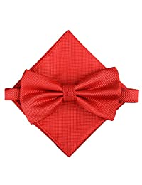 Men's Fashion Silvery Dots Pre-tied Bowtie Pocket Square Set (Plaid Red)