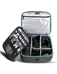 Electronics Accessories Organizer Case,Cable Organizer Bag,Electronics Organizer Travel Bag and Accessories Storage Bag for Cables,Phone,Power Bank, Mouse,iPad - Green