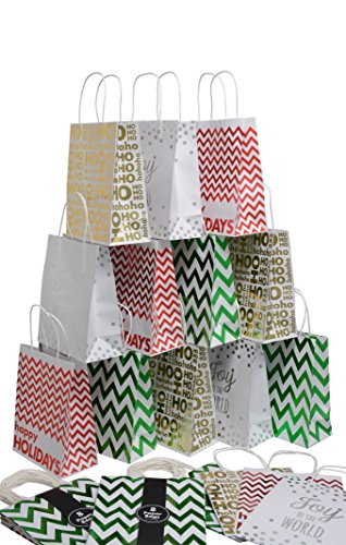 Christmas medium Gift Bags Red, Green Gold and Silver hot stamp, set of 16, 8