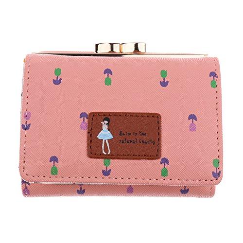 Prettyia Klein Portemonnaie Kugel-Verschluss Damen Mädchen Kurze Geldbeutel Leder Brieftasche Geldbörse Handtasche - Wassermelonenrot Rosa ms0AUA