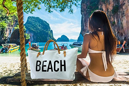 PACO Large Canvas Beach Bag Travel Tote (White), Waterproof Lining, 3 Pockets, FREE Waterproof Phone Case by Paco (Image #4)