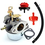 QAZAKY Carburetor with Gasket Fuel Filte Line for Tecumseh 640349 640052 640054 640058 640058A HMSK80 HMSK85 HMSK90 HMSK100 HSMK110 LH318A LH358SA 8HP 9HP 10HP Snowblower Generator Chipper Shredder