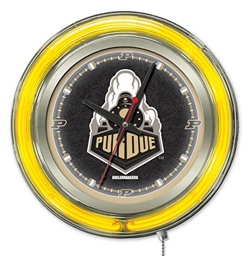 Holland Bar Stool Co. NCAA Purdue Boilermakers Double Neon Ring 15-Inch Diameter Logo Clock ()