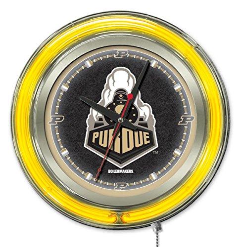 Holland Bar Stool Company NCAA Purdue Boilermakers Double Neon Ring 15-Inch Diameter Logo Clock from Holland Bar Stool Company