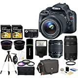 Canon EOS Rebel SL1 Digital SLR 18.0MP Camera with 18-55mm IS STM Lens + 75-300mm III Telephoto Lens +Tamrac Case +Lexar 16GB Cards +58mm Telephoto & Wide-Angle Lenses +Grip - 32GB Accessories Bundle