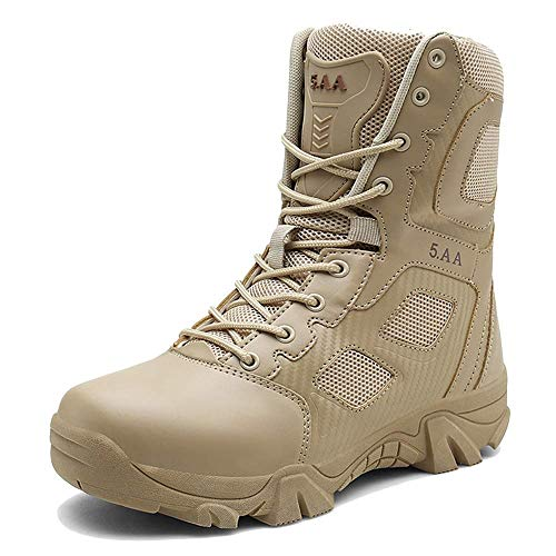 YYIN Men's Hiking Shoes Military Boots Side Zipper Tactical Boots Hiking Outdoor Shoes Anti-Slip Work Hiking Boot (Color : Sand, Size : 42)