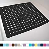 Gorilla Grip Original Patented Bath, Shower, and Tub Mat, 21x21, Machine Washable, Antibacterial, BPA, Latex, Phthalate Free, Square Bathroom Mats with Drain Holes, Suction Cups, Black Opaque