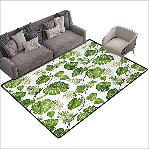 Leaf Indoor Floor mat Brazilian Rainforest Foliage Nature Ivy Swirls Palm Banana Trees Leaves Art Print 78