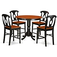 East West Furniture TRKE5-BLK-W 5 Piece High Top Table and 4 Kitchen Bar Stool Set