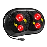 Nekteck Shiatsu Deep Kneading Massage Pillow with Heat, Car/Office Chair Massager, Neck, Shoulder, Back, Waist Massager Pillow (Black)