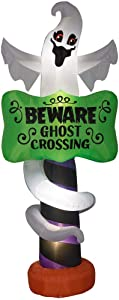 """Home Accents 9"""" Lighted Airblown Inflatable Beware of Ghost Sign"""