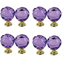 Get Orange 8 Pcs 30mm rose Crystal Glass Alloy Door Drawer Knobs Cabinet Wardrobe Pull Handle Knobs (Crystal Purple)