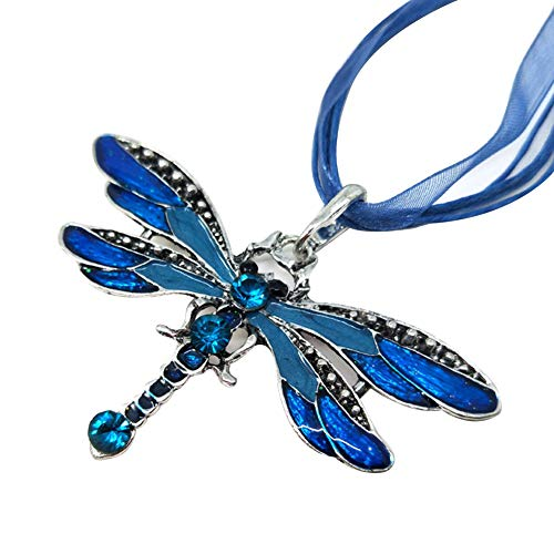 lightclub Vintage Shiny Rhinestone Inlaid Dragonfly Pendant Women Insect Necklace Jewelry - Light Blue Elegant Necklace for Women