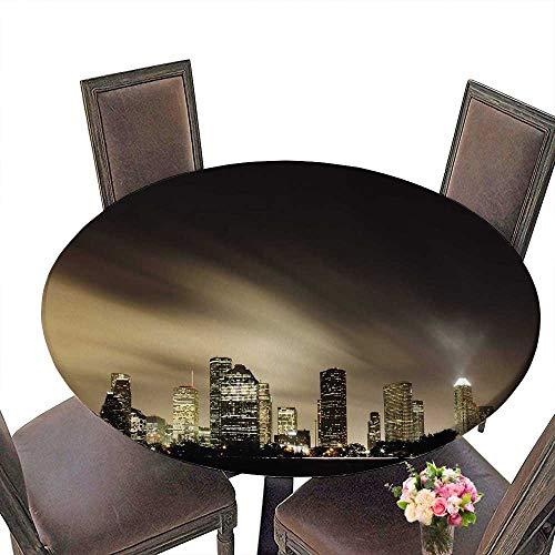 "PINAFORE Round Premium Table Metropolitan Skyline at Night Houston Texas for Indoor, Outdoor 40""-43.5"" Round (Elastic Edge)"