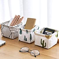 St. Lun Cotton and Linen Desktop Organizer Storage,Foldable Storage Basket Bathroom Bedroom Desktop Cosmetic Sundries…