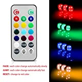 Puck Lights with Remote Control - RGB Color Changing Closet Tap Light,Battery Powered Touch Light under-Cabinet Lighting,Push Ambiance Lighting for Wedding Party Holiday,3 Pack