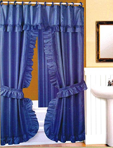 DOUBLE SWAG FABRIC SHOWER CURTAIN, LINER, RINGS, DOBBY DOT DESIGN-BLUE