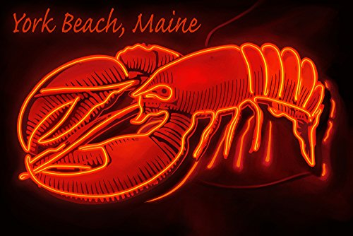 York Beach, Maine - Neon Lobster Sign (16x24 SIGNED Print Master Giclee Print w/Certificate of Authenticity - Wall Decor Travel Poster)