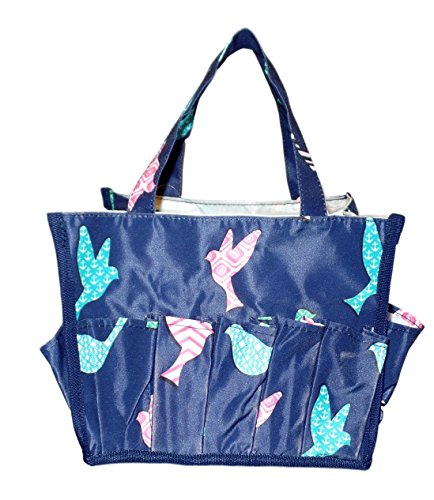 Small Fashion Organizing Tote Bag - 12 Outside Pockets - Personalization Available (Blue Bird) - 12 Outside Pockets
