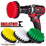 Drill Brush Attachment Power Scrubber Brush Set - 4in 4 Piece Soft, Medium and Stiff Power Scrubbing Brush Drill Attachment - Spinning Brush for Cleaning Showers, Tubs, Bathroom, Tile, Grout, Carpet