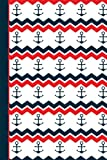 #9: Anchor Red White Blue Journal Notebook - Sketchbook: 130 Pages 6 x 9 Unlined Blank Sketch Drawing Art Book Paper School Student Teacher Diary Planner