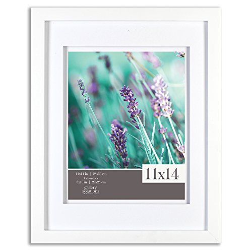 - Gallery Solutions 11x14 White Wood Wall Frame with Double White Mat for 8x10 Image