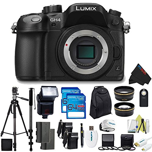 Panasonic Lumix DMC-GH4 Mirrorless Micro Four Thirds Digital Camera (Body) + Pixi-Pro Accessories Bundle (Lumix Gh4 Bundle)