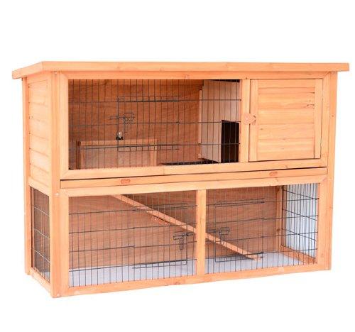 "Rabbit Hutch Playpen - PawHut 54"" Compact Wooden Outdoor Rabbit Playpen Multi Level Small Animal Hutch"