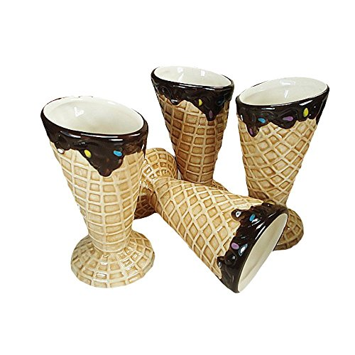 Ethels Gift Collection 4 Pieces Ceramic Ice Cream Bowl Set Home Decorative Waffle Cone Design (Beige) ()