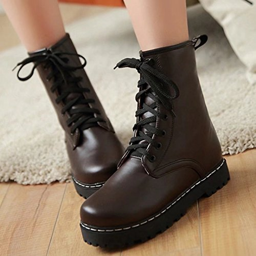 Flat Platform Heel Women's up Low Brown Round Ankle AIYOUMEI Boots Lace Toe p8q0wwI
