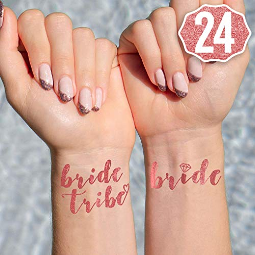 xo, Fetti 24 Rose Gold Bride Tribe Flash Tattoos | Bachelorette Party Decorations, Bridesmaid Gift + Bride to Be Favor