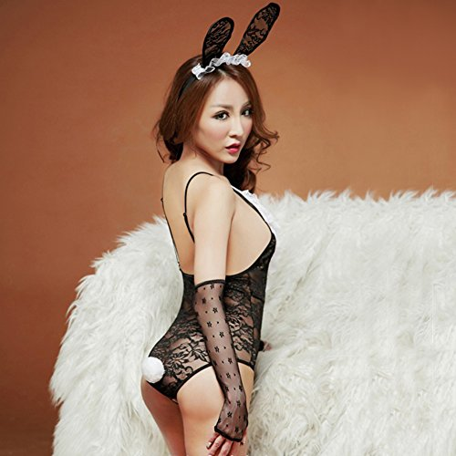 Lingerie Sets for Women, Sexy Lace Naughty Bunny Girl Costume Floral Lingerie Halloween Fancy Babydoll Dress Onesize (Headdress + gloves +Sexy Lingerie) (Bunny Halloween Costumes For Women)