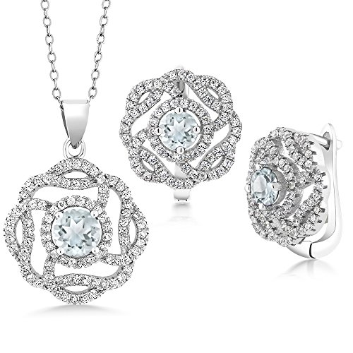 4.65 Ct Round Sky Blue Aquamarine 925 Sterling Silver Pendant Earrings Set by Gem Stone King