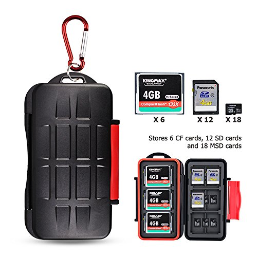 Kiorafoto 36 Slots Professional Water-Resistant Anti-Lost Storage Holder Memory Card Case Protector Wallet for 6 CF & 12 SD & 18 Micro SD Cards, with Carabiner+ Card Tray Removal Eject Pin Key