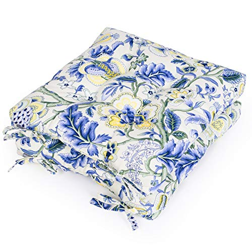 Shinnwa Chair Pads and Cushions for Kitchen Chairs with Ties [16x16 Inches] Outdoor Patio Furniture Seat Cushions for Chairs Pad Set of 2 - Canvas Blue Flowers Pattern