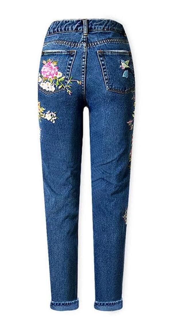 JSY Womens High Waist Trousers Jeans Denim Smocked Straight Pants
