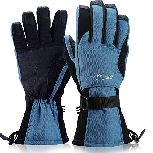 Waterproof Mens Ski Gloves, Windproof Warmest Thinsulate Cold Weather Glove For Skiing Snowboarding Riding Winter Snow Sports (Lager, Blue) (Winter Gloves Cold)