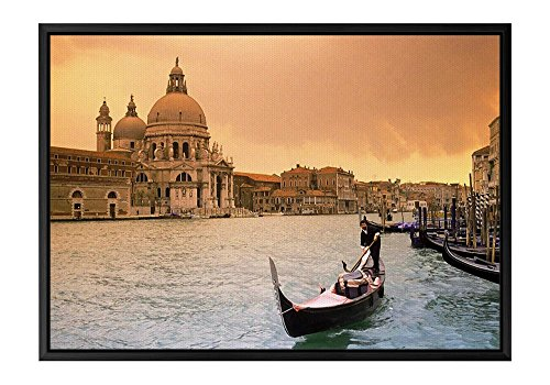Sunset Over Grand Canal Venice Italy Black Wooden Frame Art Print Canvas Poster, Home Wall Decor(12x16x1.4 inch) by FHYGJD
