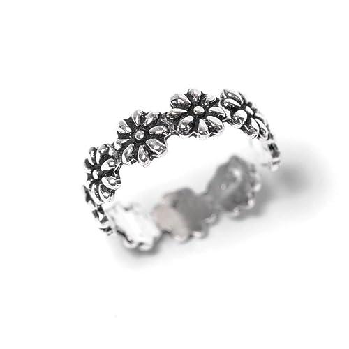 81stgeneration Women's .925 Sterling Silver Flower Midi Finger Adjustable Toe Ring XBB5InU9yJ