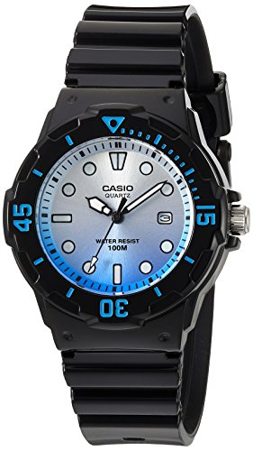 Watch Dive 100m (Casio Women's 'Dive Series' Quartz Resin Casual Watch, Color:Black (Model: LRW-200H-2EVCR))