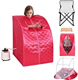 K&A Company Portable 2l Steam Sauna Spa Full Body Slimming Loss Weight with Chair Pink