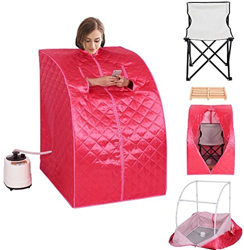 K&A Company Portable 2l Steam Sauna Spa Full Body Slimming Loss Weight with Chair Pink by K&A Company