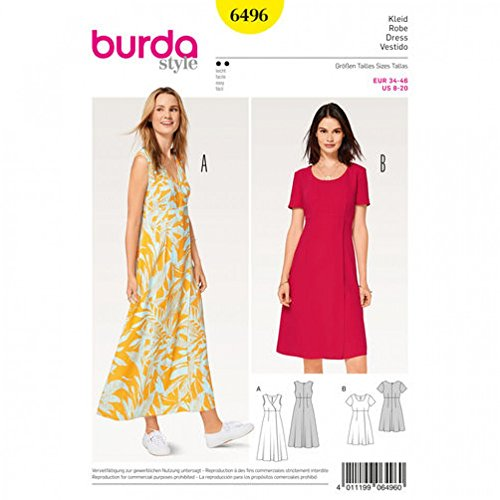 Burda Ladies Easy Sewing Pattern 6496 High Waist Dresses