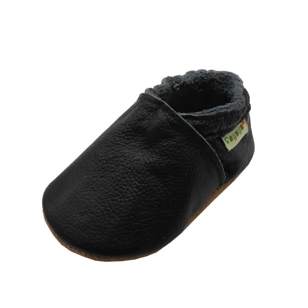 Sayoyo Baby Soft Sole Shoes Genuine Leather First Walker Infant Toddler Moccasins(12-18 Months, Black)