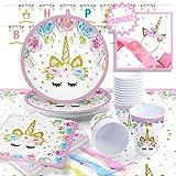 Unicorn Party Supplies Set with BONUS Unicorn Birthday Headband and Sash - Serves 16 - by Pippin Products