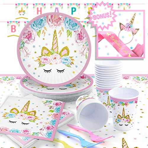 Unicorn Party Supplies Set with BONUS Pink and Gold Unicorn Headband and Birthday Sash | Decorations and Tableware | Disposable for Easy Cleanup | Serves 16 | by Pippin Products